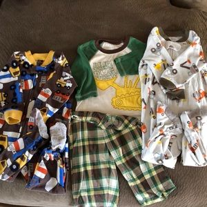 Three tractor themed Carter's brand PJs